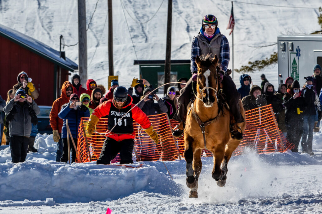 Skijor Skowhegan, featured at the annual SnowFest, is the only equestrian skijoring race in the Northeast, and competitors can take home an assortment of prizes, including cash.