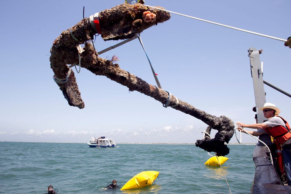 A 3,000-pound anchor from what is believed to be the wreck of the pirate Blackbeard's flagship, the Queen Anne's Revenge, is recovered from the ocean where it has been since 1718, in Beaufort Inlet, in Carteret County N.C. , in this May 27, 2011, photo.