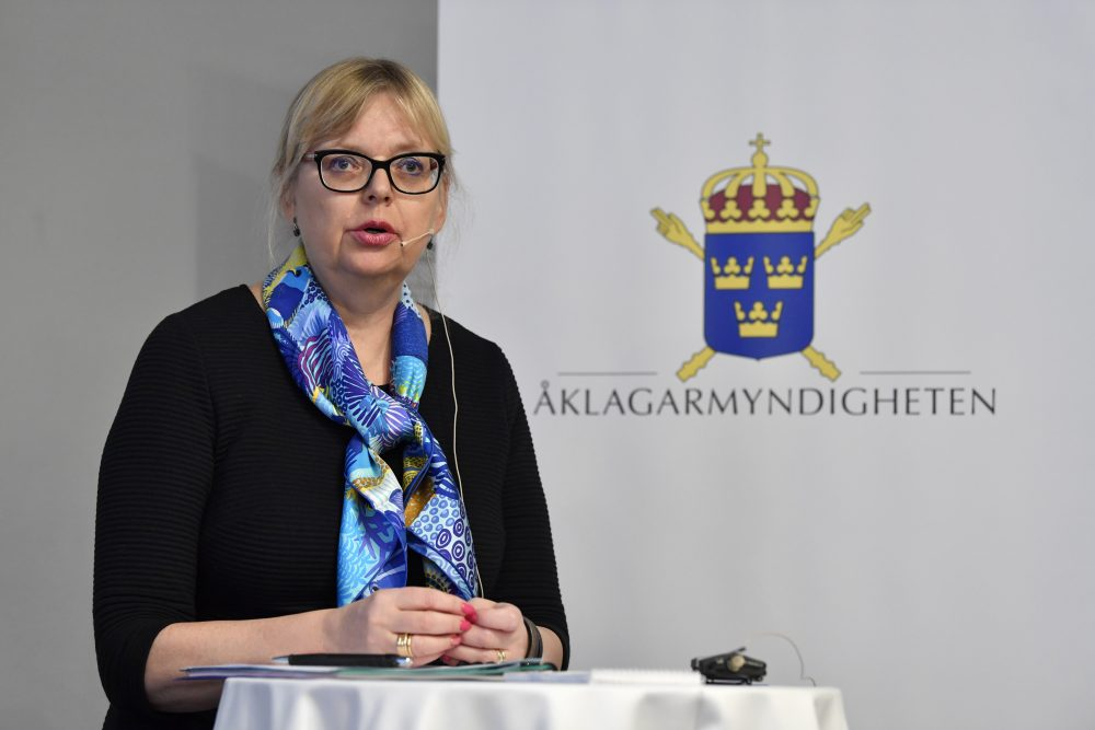 Deputy Director of Public Prosecution Eva-Marie Persson speaks during a press conference in Stockholm, Sweden, Tuesday Nov. 19, 2019. The alleged rape investigation involving WikiLeaks founder Julian Assange, who is currently in prison in Britain, has been discontinued, Persson said.