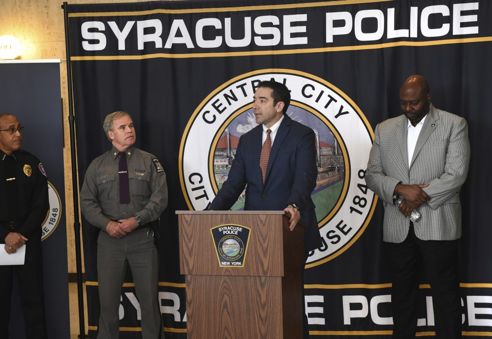Peter Fitzgerald from the FBI addresses questions about a series of racist messages and hate crimes that have occurred at Syracuse University in the last two weeks during a press conference on Tuesday in Syracuse, N.Y. The shared manifesto appears to be copied from the same one the New Zealand mosque shooter wrote but has not been confirmed.
