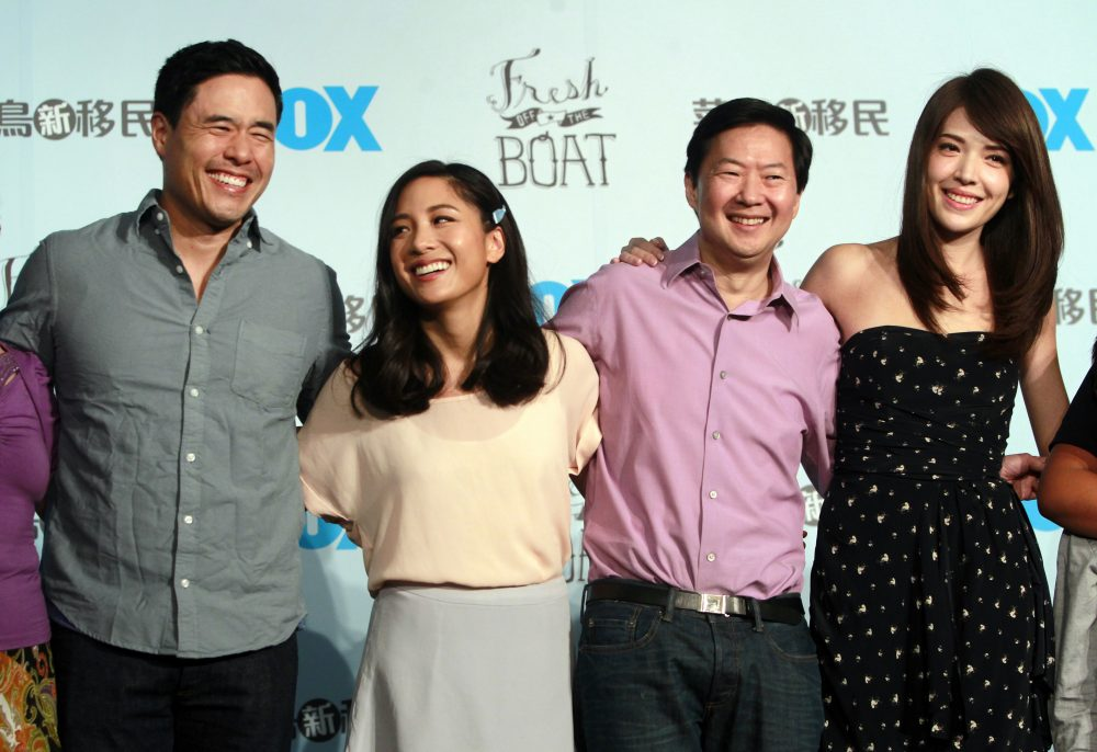 "In this Aug. 5, 2016 file photo, Randall Park, from left, Constance Wu, Ken Jeong and Ann Hsu pose for photographers during a media event announcing their comedy series ""Fresh off the Boat"" in Taipei, Taiwan."