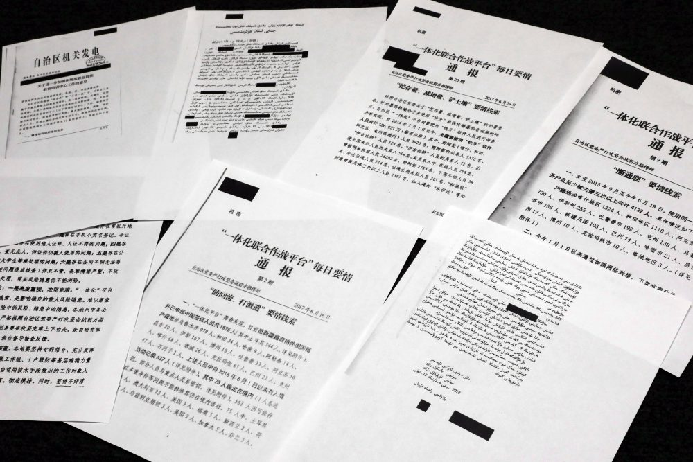 A sample of classified Chinese government documents leaked to a consortium of news organizations is displayed Friday in New York. Beijing has detained more than a million Uighurs, ethnic Kazakhs and other Muslim minorities for what it calls voluntary job training. The confidential documents lay out the Chinese government's deliberate strategy to lock up ethnic minorities to rewire their thoughts and even the language they speak.