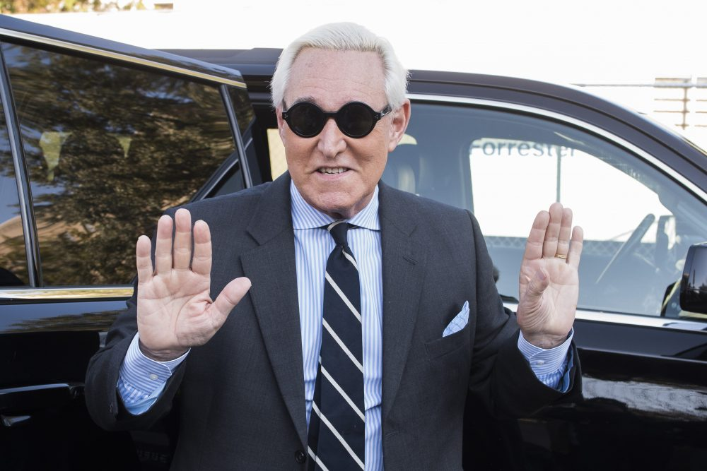 Roger Stone arrives Wednesday at federal court in Washington for the second day of jury selection in his trial.
