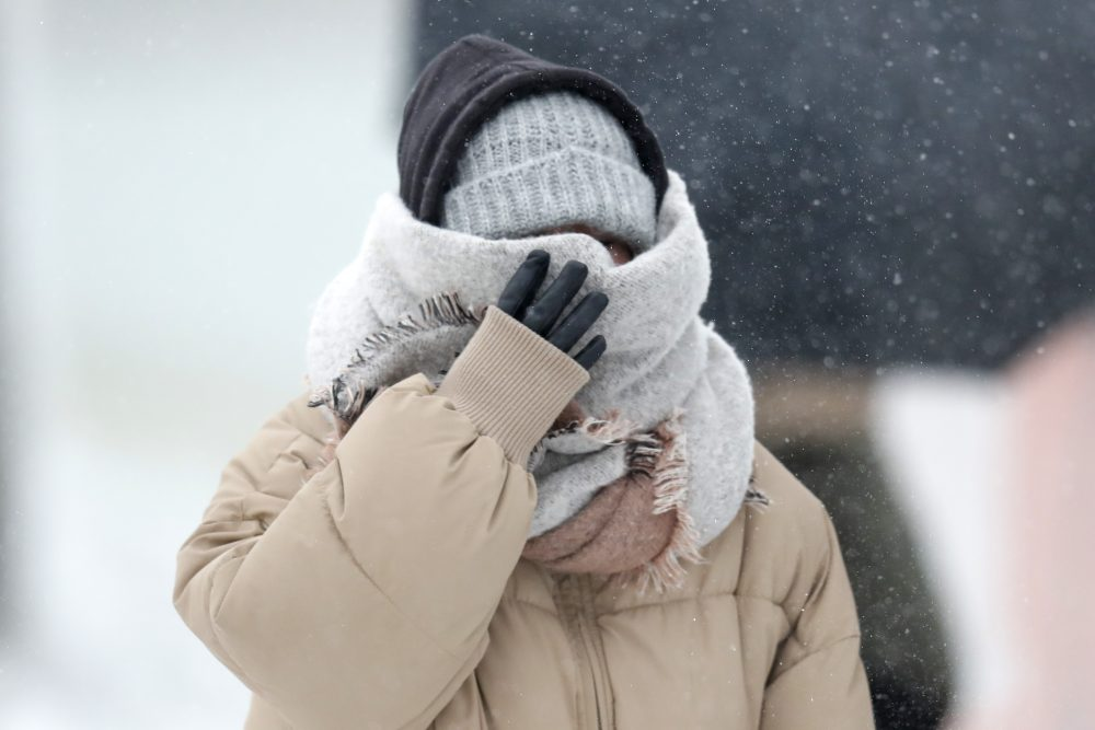 A woman walking the half mile from the Chicago Aquarium to the Adler Planetarium braces in a stiff wind and blowing snow off Lake Michigan on Monday in Chicago.