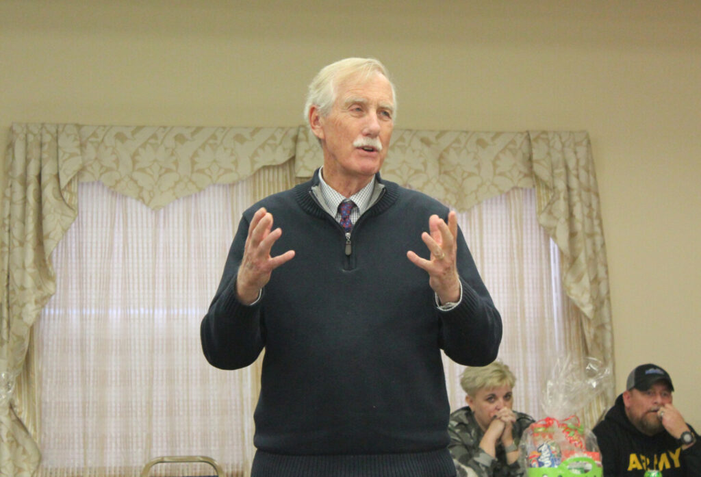 Sen. Angus King speaks Monday at a Veteran Mentors of Maine pig roast fundraiser at the Waterville Elks Banquet and Conference Center.