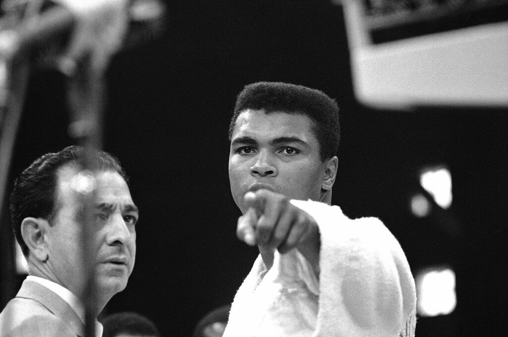 Muhammad Ali in Lewiston before his 1965 title fight with Sonny Liston.