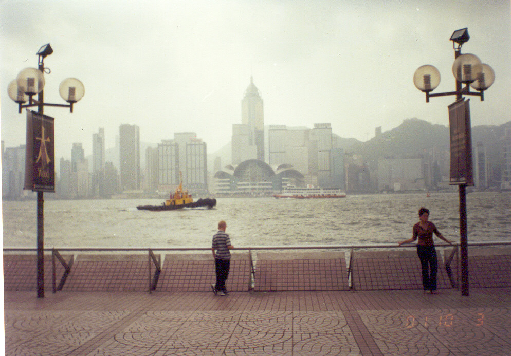 Jack Wilde, center, on the waterfront at Tsim Sha Tsui, Hong Kong, in 2000.
