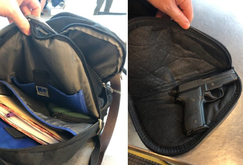 A loaded handgun was detected when this knapsack, owned by a Florida man, went through security at the Portland jetport on Thursday.