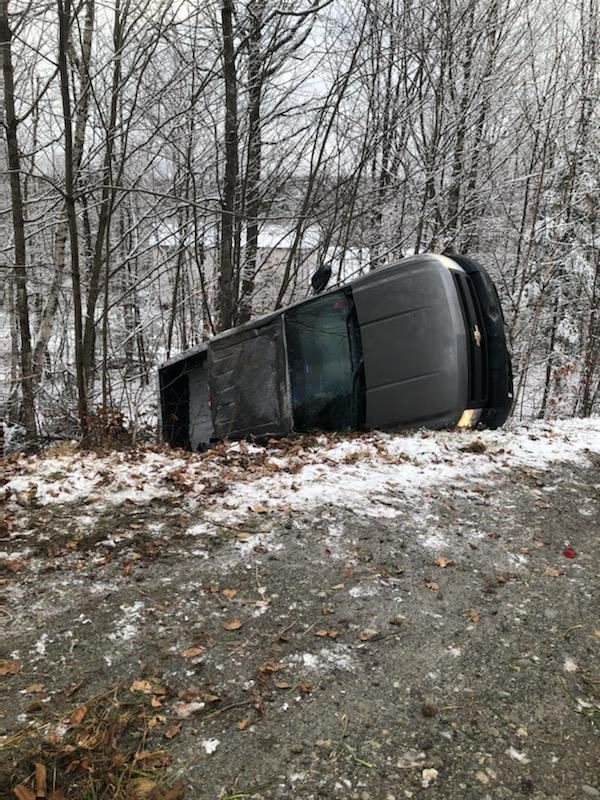 Aidan Louder, 19, of Cornville, rolled off the East Ridge Road in Skowhegan on Friday after hitting black ice.