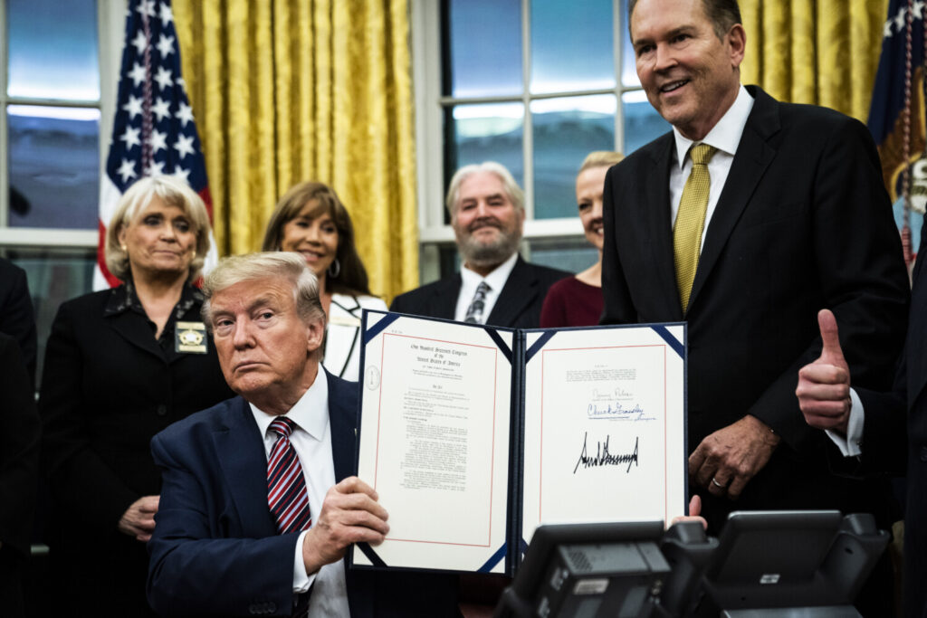 President Trump signed the Preventing Animal Cruelty and Torture Act on Monday in the Oval Office.