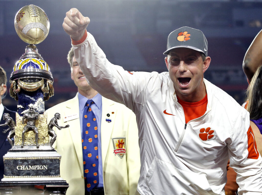 Clemson and its coach, Dabo Swinney, stepped into the forefront of college football at the Fiesta Bowl in 2016, a college football playoff semifianl against Ohio State. Clemson won 31-0 , and Ohio State has been trying to recover ever since.