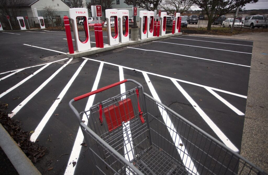 A Tesla car charging station near Hannaford in Portland stands at the ready.