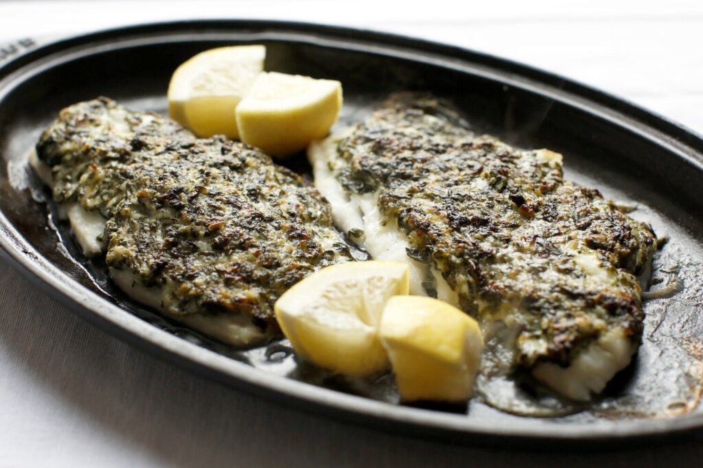 Haddock with spinach, Parmesan, mayonnaise and lemon crust.