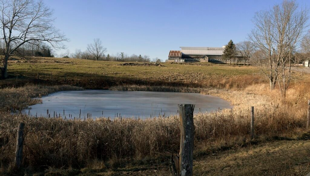 Fencing around a pond Wednesday at Jacobs Cattle Farm in Mount Vernon was funded in part by U.S. Department of Agriculture funds.