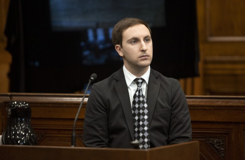 Mark Cardilli Jr. takes the stand Friday, the fifth day of his murder trial at the Cumberland County Courthouse.