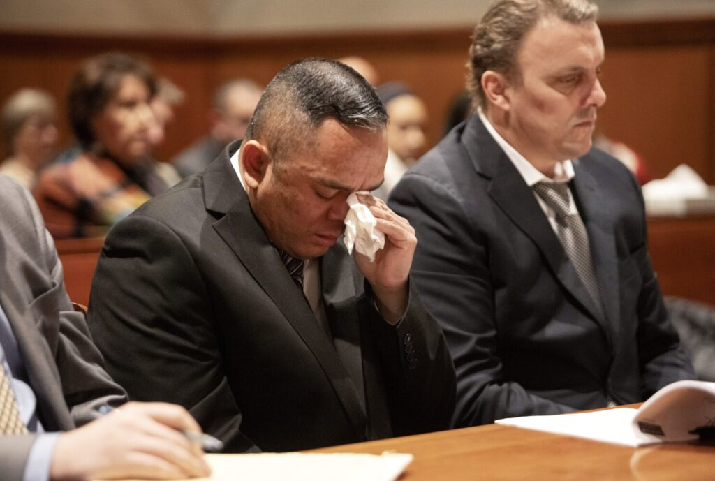 Anthony Leng wipes away tears at his sentencing hearing for the murder of Sohka Khuon, the mother of his children, on Monday. Leng pleaded guilty and was sentenced to 40 years in prison.