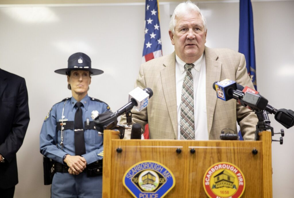 """Scarborough Police Chief Robert Moulton speaks about the arrest of Quinton Hanna, 22, of Freeport on Tuesday. Hanna has been charged with murder in the death of James """"Jim"""" Pearson, a well-known local farmer and retired teacher in Scarborough."""