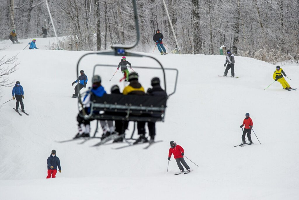 Sugarloaf ski resort, like every other ski resort in the state, is now closed because of the coronavirus. The chairlift definitely doesn't allow for the required social distancing.