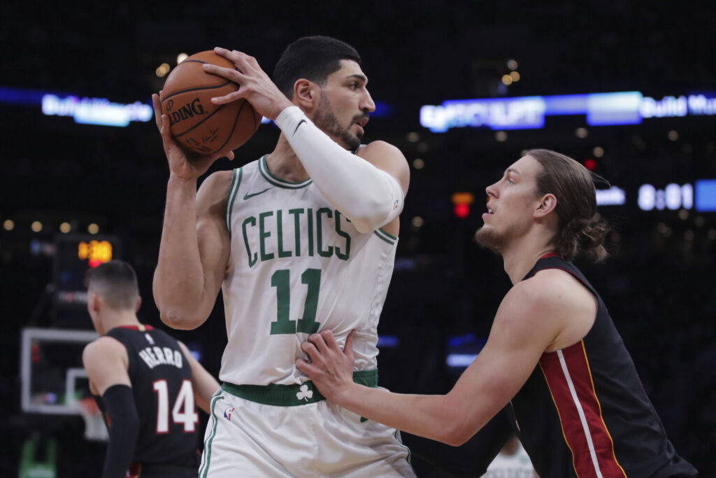 Enes Kanter, left, has not left the United States for years because he had his passport revoked by the Turkish government. Kanter, an outspoken critic of Turkish President Recep Tayyip Erdogan, says he will be able play for the Celtics in Canada on Christmas.