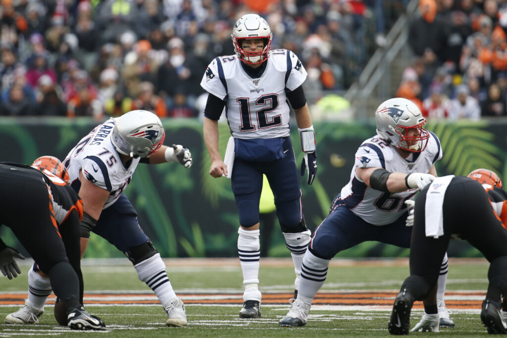 New England Patriots quarterback Tom Brady (12) calls out a play in the first half of an NFL football game against the Cincinnati Bengals, Sunday, Dec. 15, 2019, in Cincinnati. (AP Photo/Frank Victores)