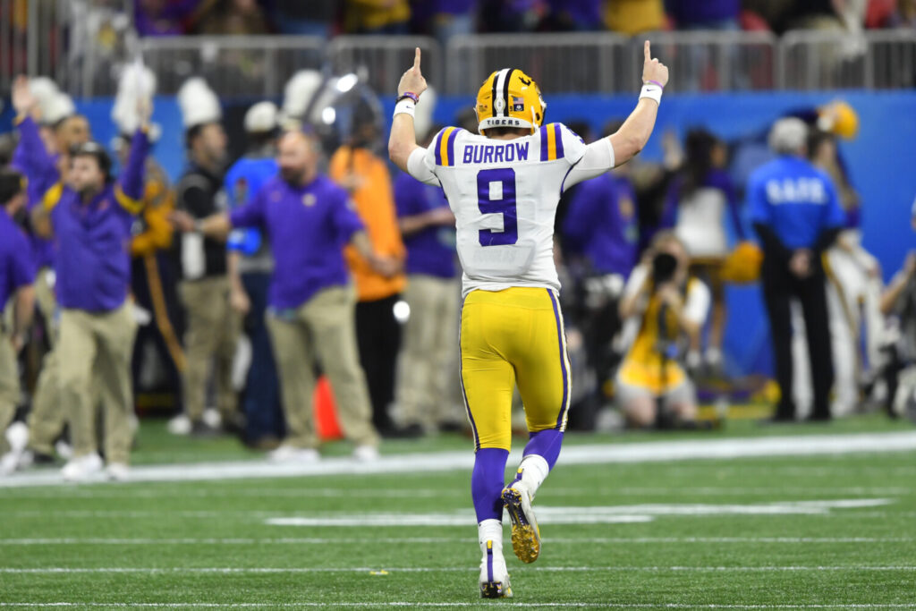 LSU quarterback Joe Burrow celebrates a touchdown against Oklahoma during the first half of the College Football Playoff semifinal on Saturday in Atlanta.