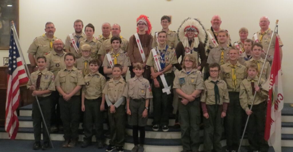 Front from left are Cub Scout Bryson Pettengill, Scouts Cole Henderson, Kameron Rossignol, Tad Dow, Nathan Choate, Dylin Breton, Caleb Knock and Cub Scout Isaac Audette. Middle row from left are Leader Sean Boynton, Scouts Ayden Newell, Michael Boostedt, Eagle Scout Rémy Pettengill, Nevek Boostedt (Allowat), Scout Ben Lagasse, Sam Boynton, Nick Shelton and Hunter Praul.Back row from left are Leader Lee Pettengill, Christian Hunter, Scout Cole Corson, Leader Ron Emery, Derek Rossignol, Scout Aiden Pettengill (Kichinet), Nick Choate, Leader Matt Bodine, Priscilla Adams and Scoutmaster Scott Adams.