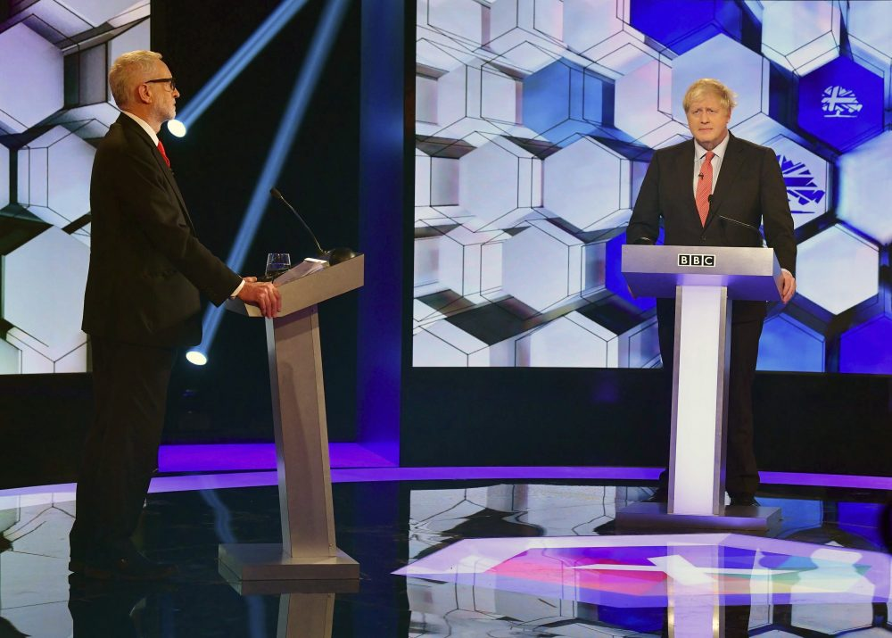 Opposition Labour Party leader Jeremy Corbyn, left, and Britain's Prime Minister Boris Johnson during a debate Friday at the BBC TV studios in Maidstone, England.