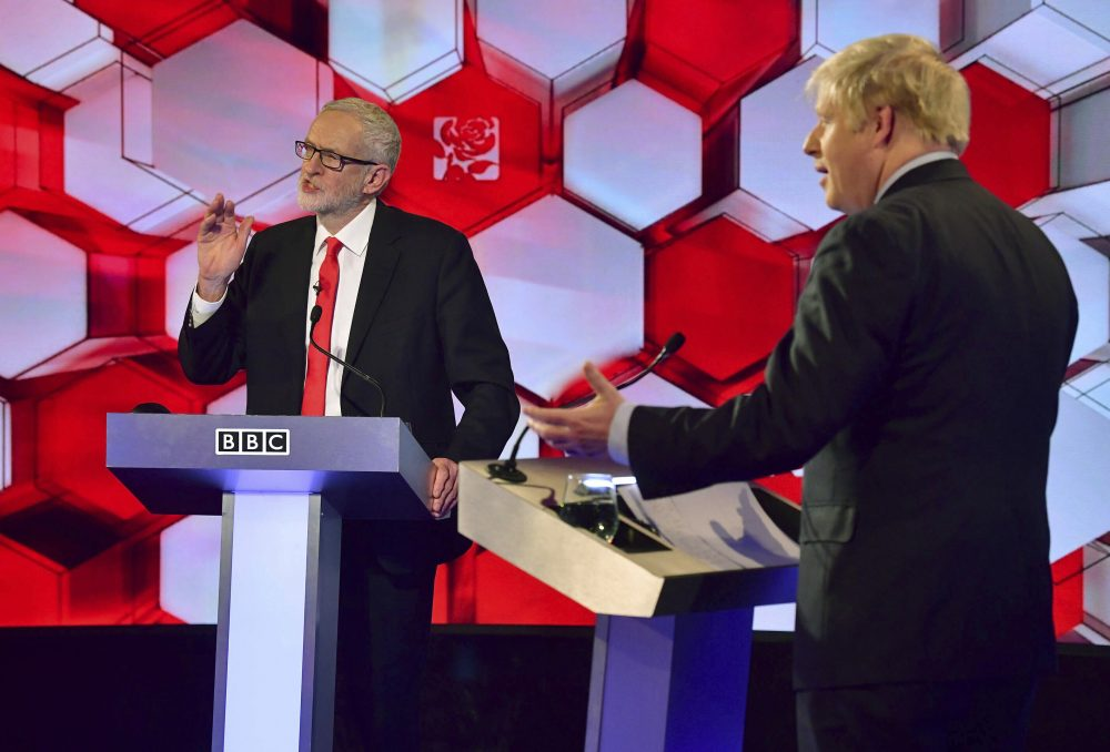 Opposition Labour Party leader Jeremy Corbyn, left, and Britain's Prime Minister Boris Johnson, during a head to head live Election Debate at the BBC TV studios in Maidstone, England, on Friday. Social media platform Reddit said it has banned 61 accounts suspected of violating policies against vote manipulation.