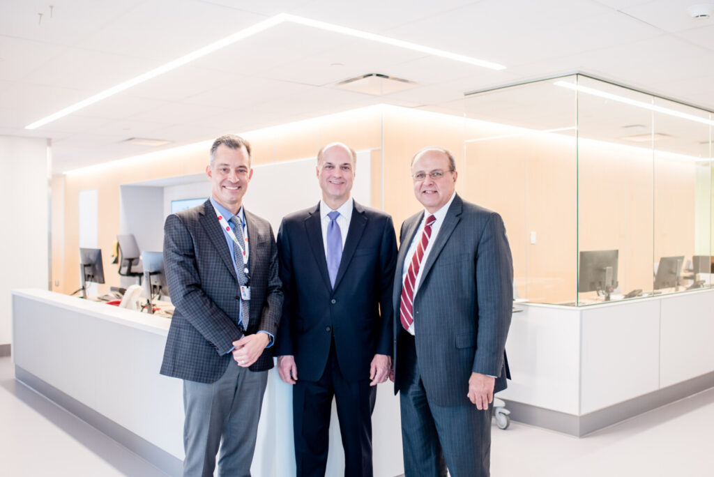 From left are Jeffrey Sanders, president, Maine Medical Center Center; Gregory Dufour, president & CEO, Camden National Bank; and William L. Caron Jr., chief executive officer, MaineHealth.