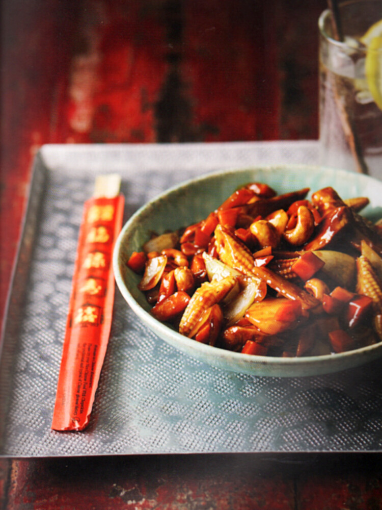 "Chicken and Cashew Nuts from ""Chinese Takeout Cookbook"" by Kwoklyn Wan."