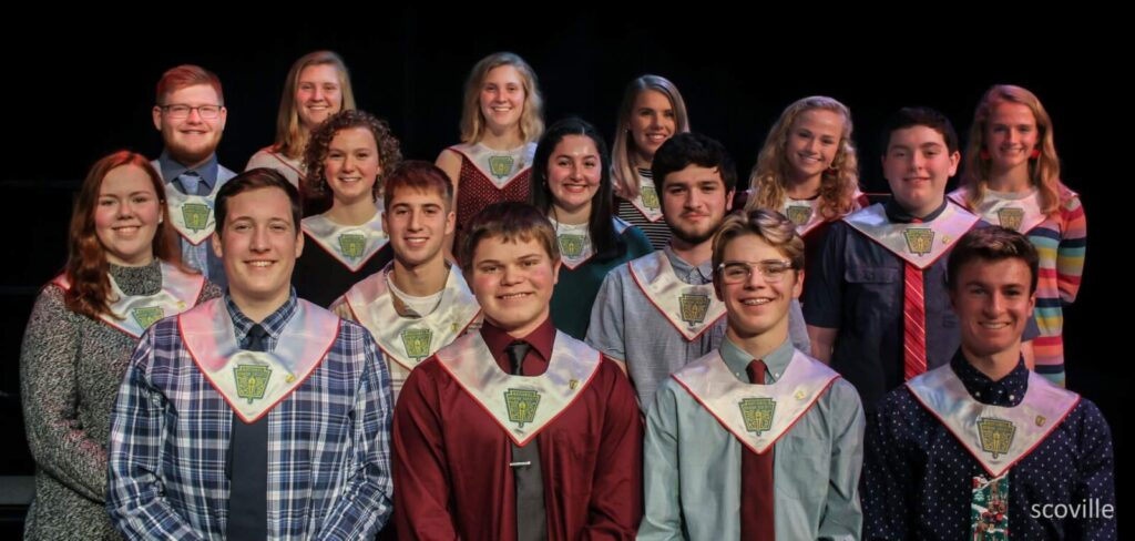 The 2019 National Honor Society Inductees from Cony High School include, front from left, Jack Rodrigue, Elijah Bezanson, Jack Begin and Kyle Douin. Second row from left are Molly Dutil, Logan Butler and Gage Bernstein. Third row from left are Hannah Richardson, Brooklynn Merrill and Eric McDonnell. And the back row from left are  Hunter Davis, Amanda Jorgensen, Tessa Jorgensen, Madeline Levesque, Anna Reny and Julia Reny.