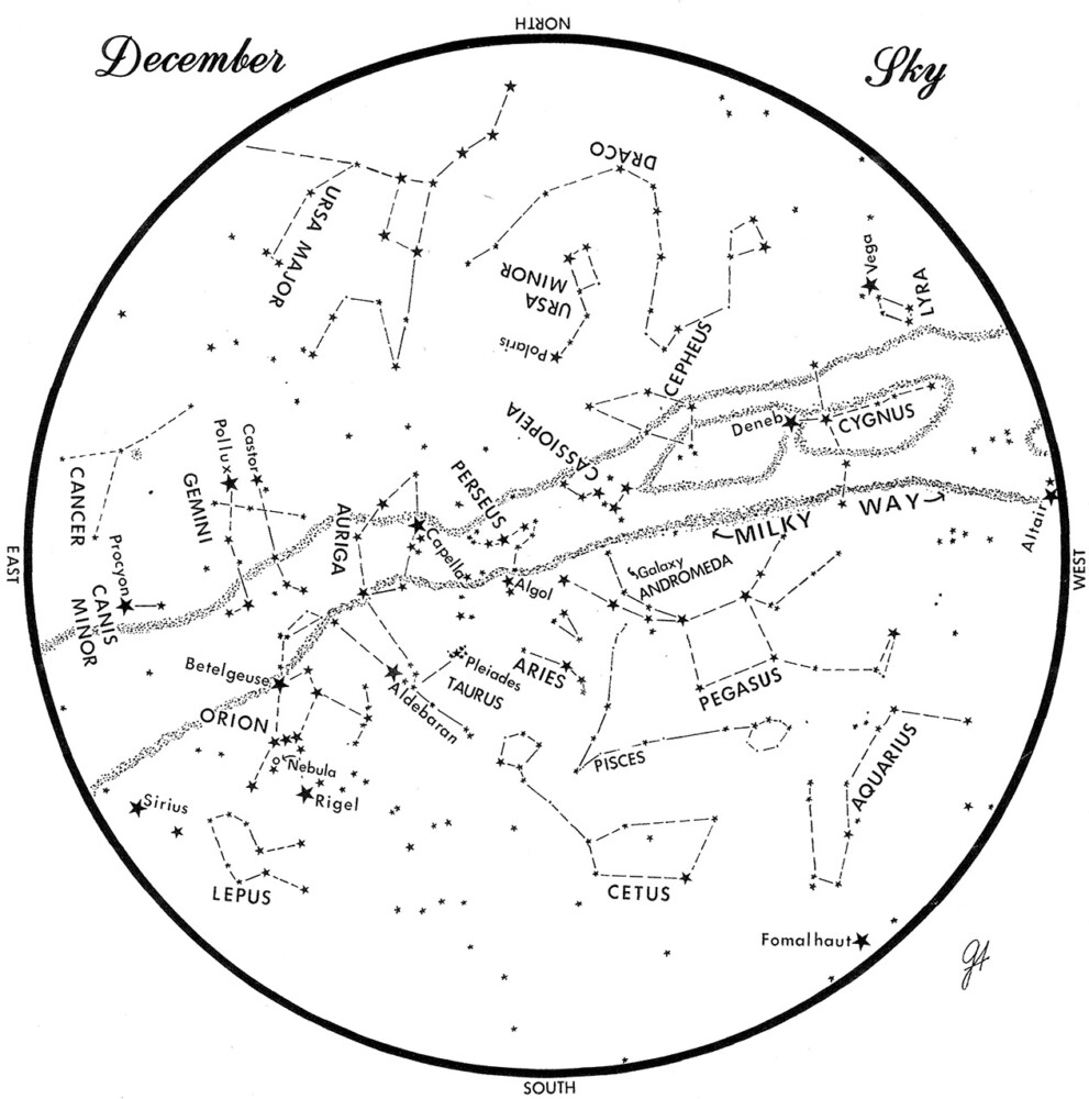 SKY CHART:  This chart represents the sky as it appears over Maine during December.  The stars are shown as they appear at 9:30  p.m. early in the month, at 8:30 p.m. at midmonth and at 7:30 p.m. at  month's end.  No planets are visible at chart times.  To use the map, hold it vertically and turn it so that the direction you are facing is at the bottom.