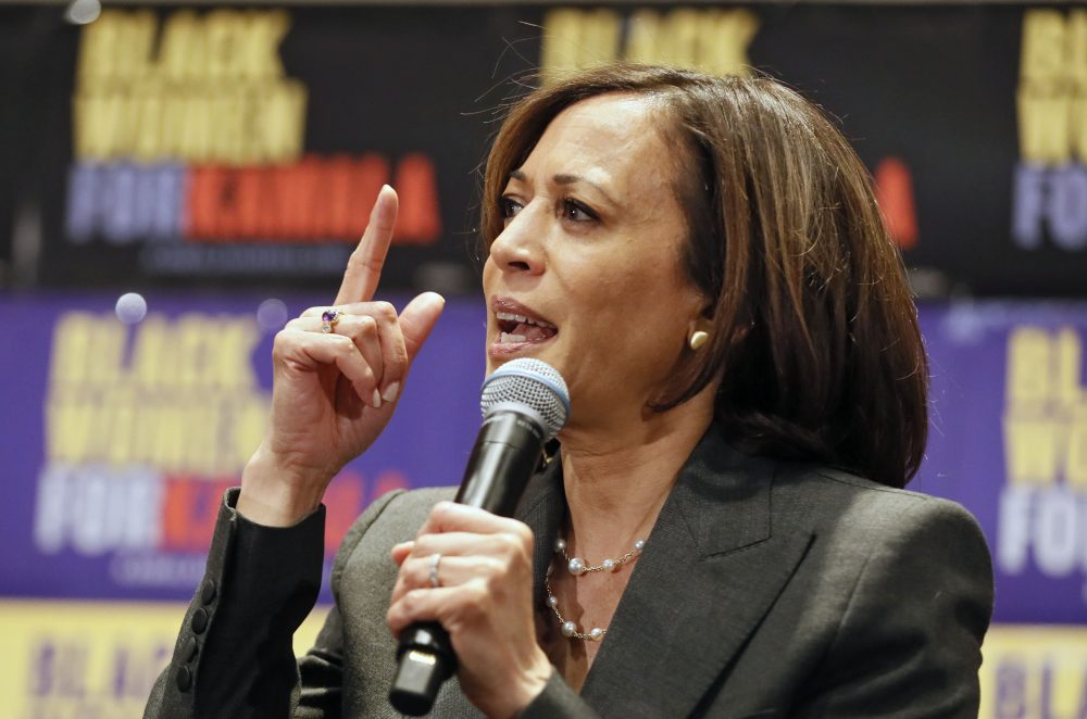 Democratic presidential candidate Sen. Kamala Harris, D-Calif., speaks at an event last month in Atlanta. She plans to end her bid for the Democratic nomination for president, sources said Tuesday.