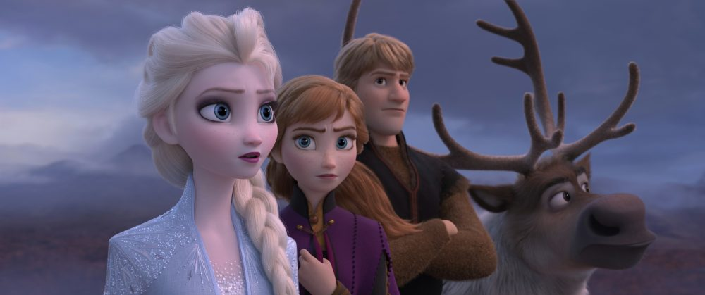 "From left: Elsa, voiced by Idina Menzel; Anna, voiced by Kristen Bell; Kristoff, voiced by Jonathan Groff; and Sven in a scene from the animated film ""Frozen 2."""