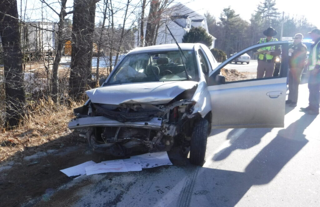 Two people were injured in a head-on crash in Gray on Thursday morning. The crash involved a 2003 Toyota Echo that had been reported stolen from Auburn.