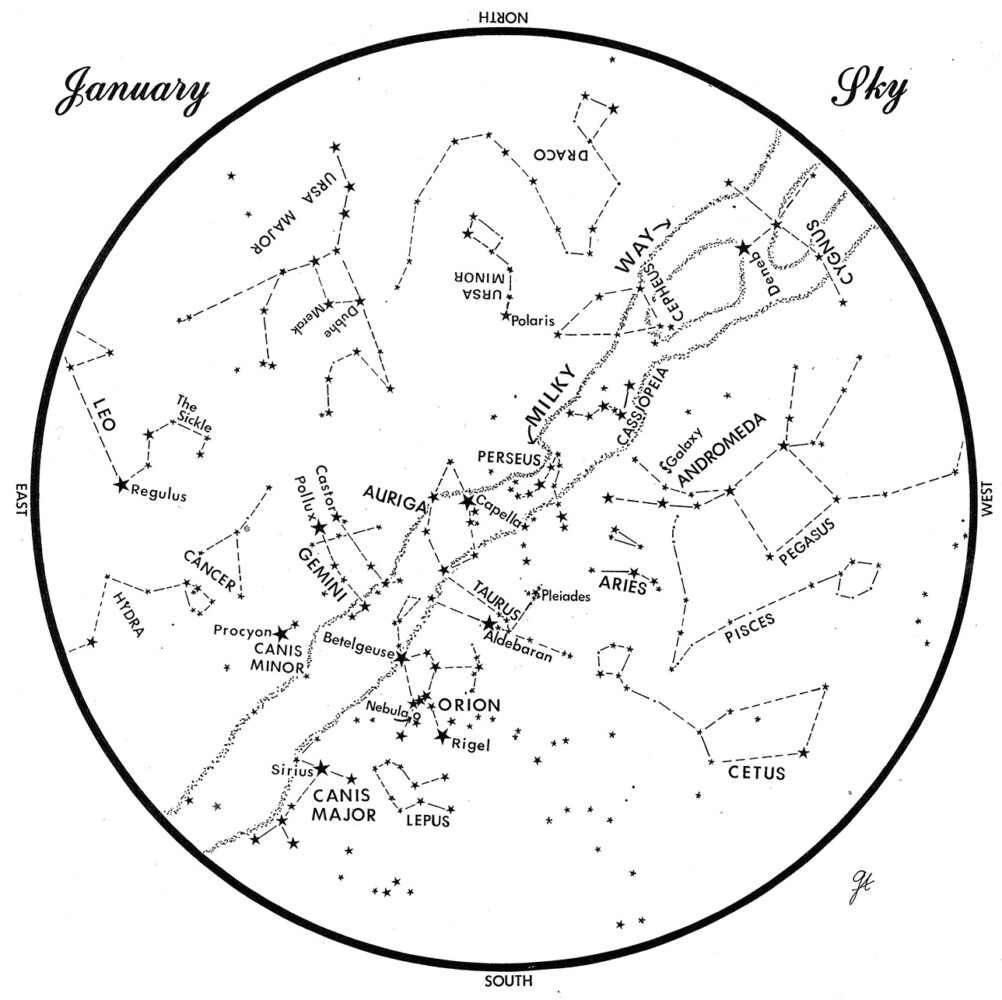 SKY GUIDE: This chart represents the sky as it appears over Maine during January 2020.  The stars are shown as they appear at 9:30 p.m. early in the month, at 8:30 p.m. at midmonth and at 7:30 p.m. at month's end.  No planets are visible at chart times.  To use the map, hold it vertically and turn it so that the direction you are facing is at the bottom.