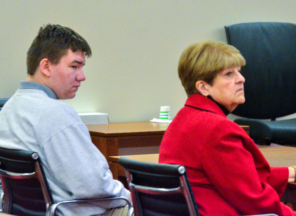 Lukas Mironovas, left. and attorney Pamela Ames are seen Thursday morning during Mironovas's sentencing hearing at the Capital Judicial Center in Augusta. Mironovas, 16, was sentenced to 33 years in prison in connection with the killing of his mother.