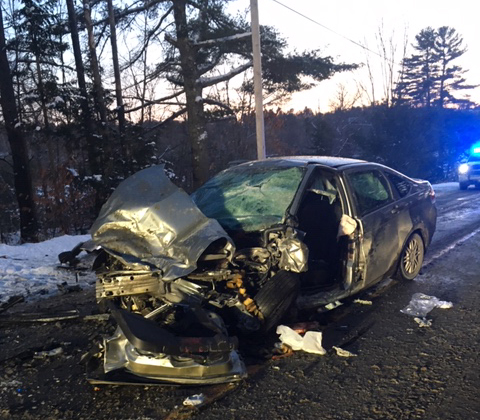 Slippery road conditions and blinding sunlight were apparently part of the cause of a head-on collision Thursday between a pickup truck and a car on River Road in Norridgewock.