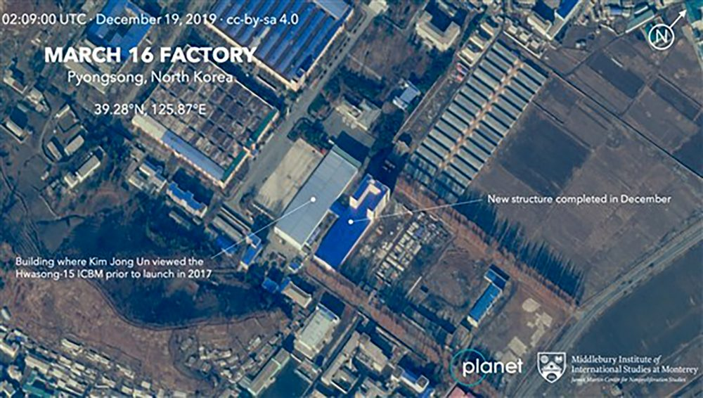 This Dec. 19 satellite image from Planet Lab Inc., that has been analyzed by experts at the Middlebury Institute of International Studies, shows the March 16 Factory in Pyongsong, near Pyongyang, where North Korea manufactures military trucks used as mobile launchers for long-range missiles. This new satellite image on a North Korean missile-related site shows the construction of a new structure this month. ( AP)