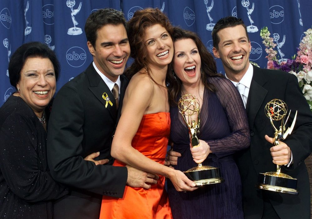 "From left: Shelley Morrison, Eric McCormack, Debra Messing, Megan Mullally and Sean Hayes celebrate their awards for their work in ""Will & Grace"" at the 52nd annual Primetime Emmy Awards in Los Angeles. Morrison, who played the memorable maid Rosario, has died. Publicist Lori DeWaal said Morrison died Sunday at Cedars-Sinai Medical Center in Los Angeles from heart failure. She was 83."