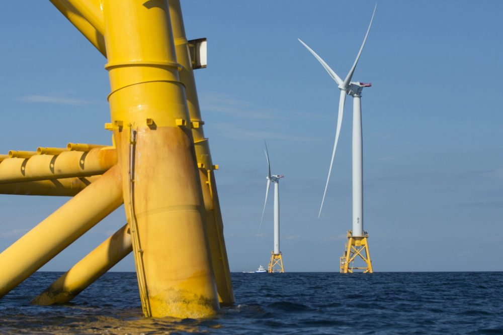 Wind turbines from the Deepwater Wind project stand in the sea off Block Island, R.I., in 2016. The region's leaders gathered Thursday at the University of New Hampshire in Durham, N.H., to discuss the potential for offshore wind in the Gulf of Maine.