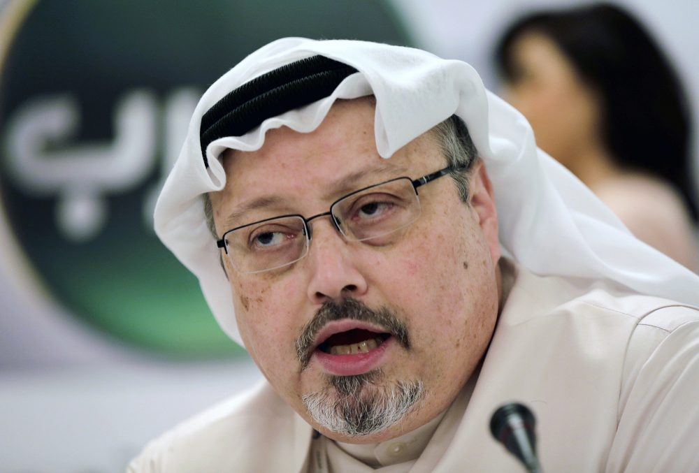 Saudi journalist Jamal Khashoggi speaks during a news conference in Manama, Bahrain in 2014. A court in Saudi Arabia on Monday sentenced five people to death for the killing of Washington Post columnist Khashoggi, who was murdered in the Saudi Consulate in Istanbul last year by a team of Saudi agents.