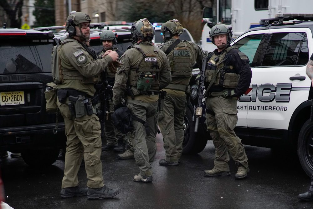 An antiterrorism unit arrives to the scene of a shooting in Jersey City, Tuesday, Dec. 10.