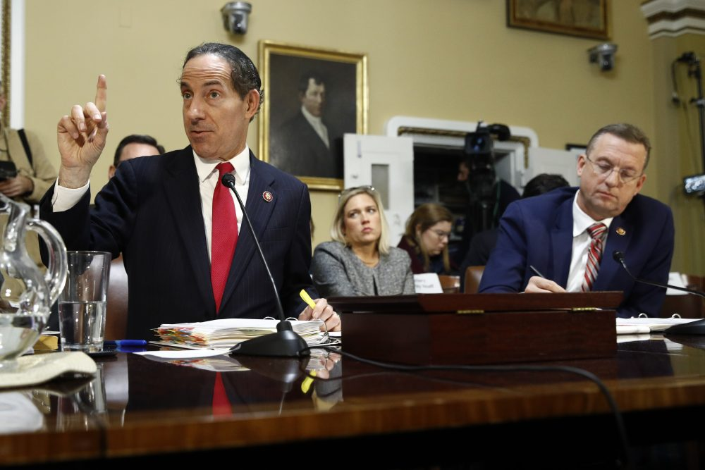 Rep. Jamie Raskin, D-Md., speaks as House Judiciary Committee ranking member Doug Collins, R-Ga., takes notes during a House Rules Committee hearing on impeachment Tuesday in Washington.
