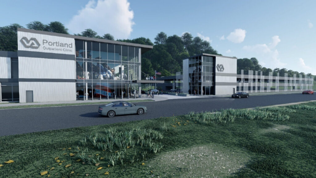 The U.S. Department of Veterans Affairs wants to build a 62,000-square-foot community VA clinic and adjacent 382-space covered parking garage on West Commercial Street in Portland. This rendering features a proposed design for the project.