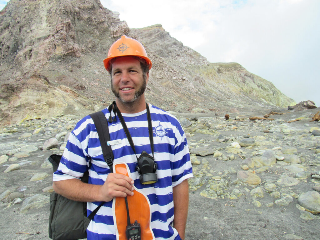 Hayden Marshall-Inman is seen on White Island, New Zealand, where he offered tours of the active volcano. He was killed earlier this week in an eruption.