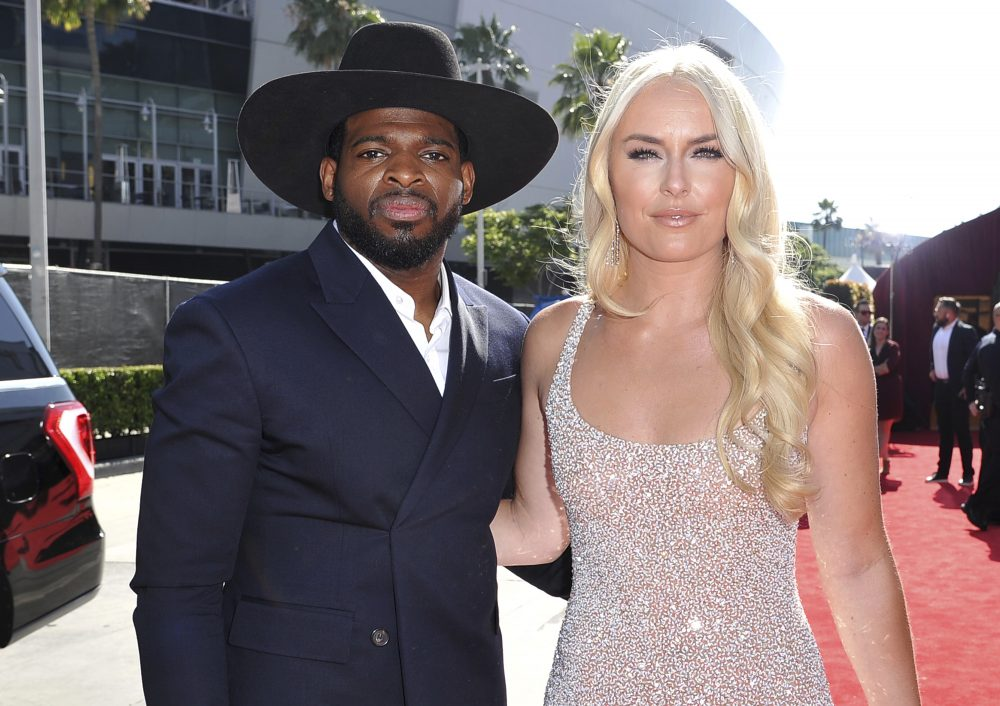 P.K. Subban, of the New Jersey Devils, and ski racer Lindsey Vonn are shown in July. Vonn popped the question to Subban, she said in a tweet.