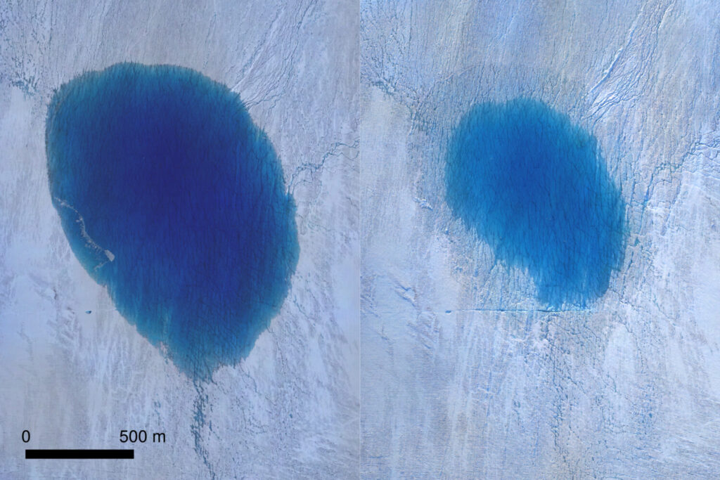 This is an aerial view of a lake on the Greenland ice sheet before. left, and after drainage.
