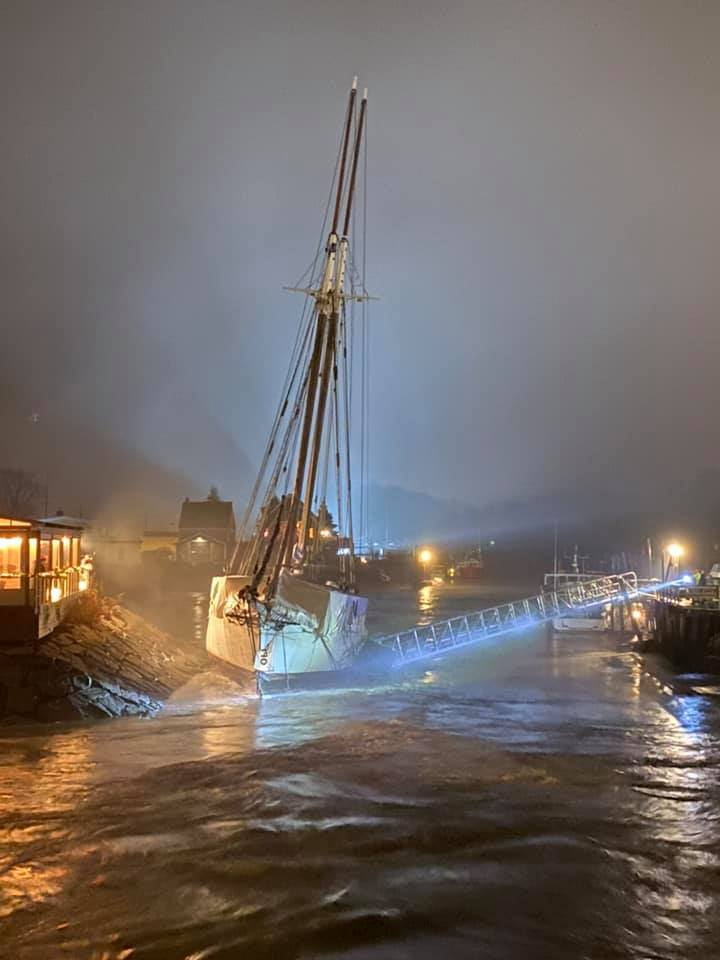 The Spirit of Massachussets floating restaurant was torn from the shore of the Kennenbunk River during Saturday's outgoing tide.