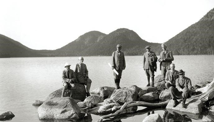 George Dorr, far right,  and members of the village path committees at Jordan Pond in 1923.